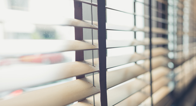 close up of horizontal blinds in a room