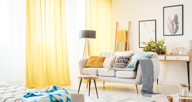 yellow made to measure curtains