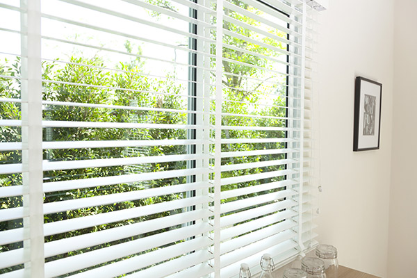 white horizontal blinds in a living room