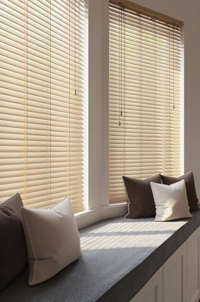 elm 50mm custom blinds in a living room