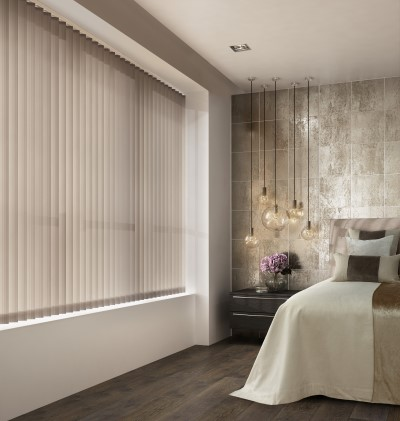 Perola stone custom blinds in a bedroom