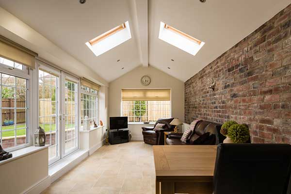 roof and window blinds in a conservatory