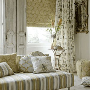 cream curtains in a lounge