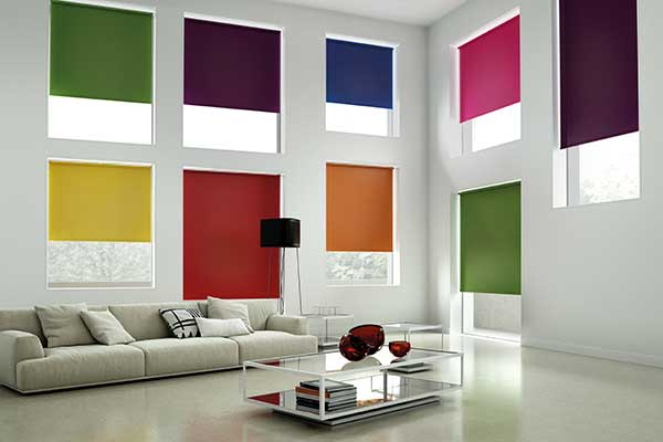 multi coloured blinds in a lounge area
