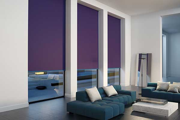 perfect purple blinds in a living room
