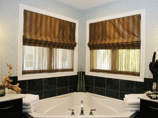 roman blinds in a bathroom