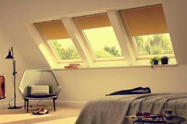 velux forest blinds in a bedroom