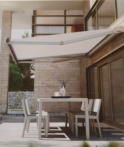 Canopy covering garden table on sunny day